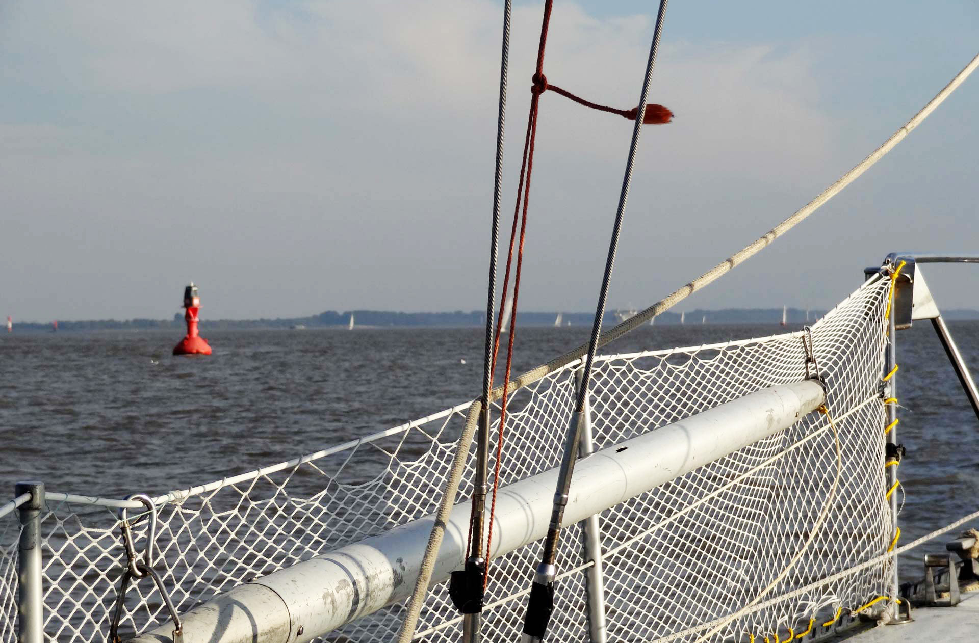 Keeping the red buoys right on our port side.