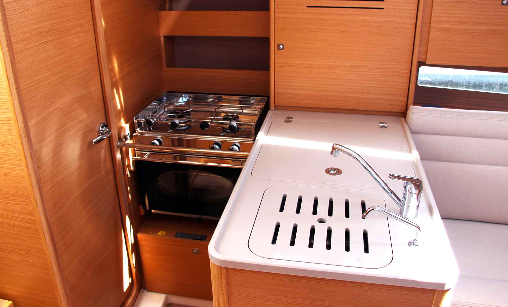 A completely well equipped galley