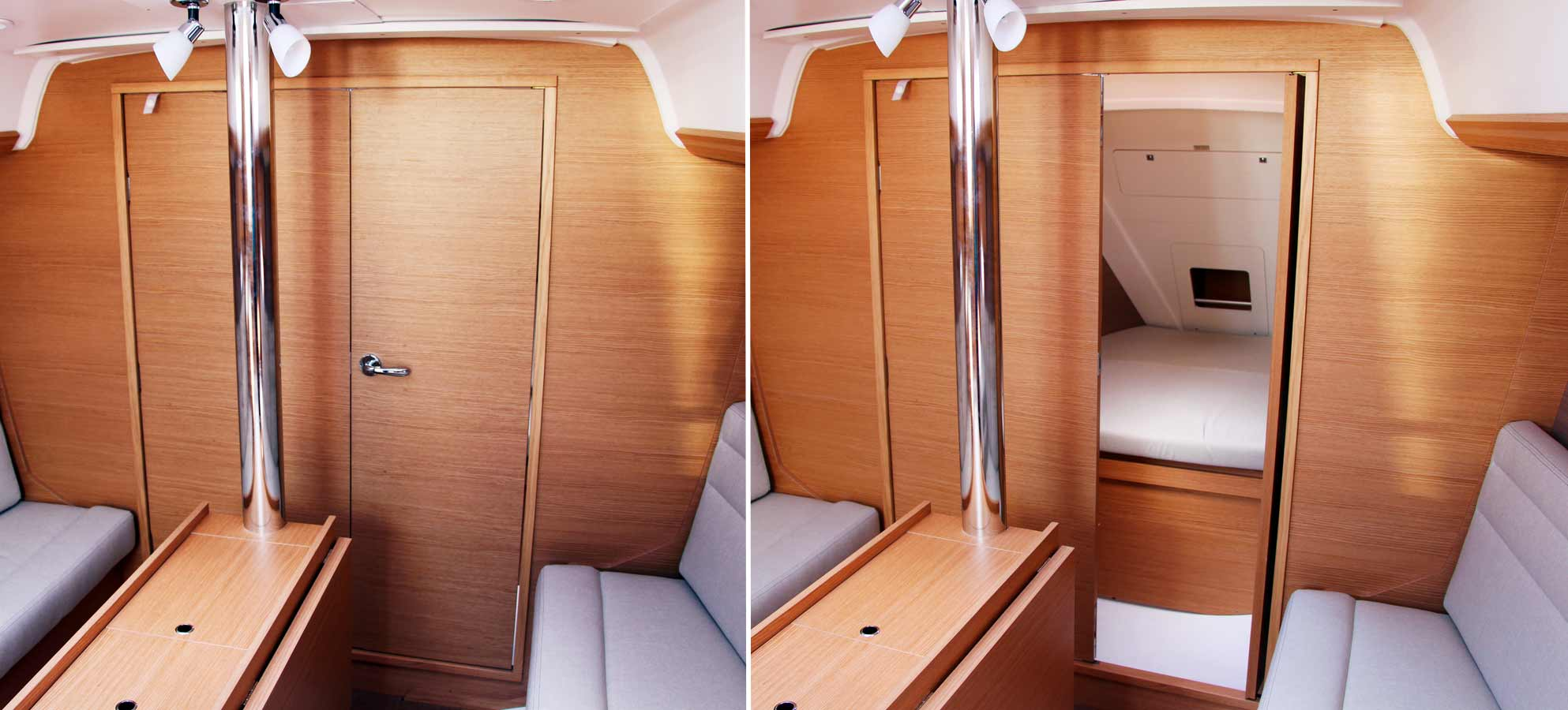 Clever: Forward bulkhead can be a simple door to the fore cabin ...