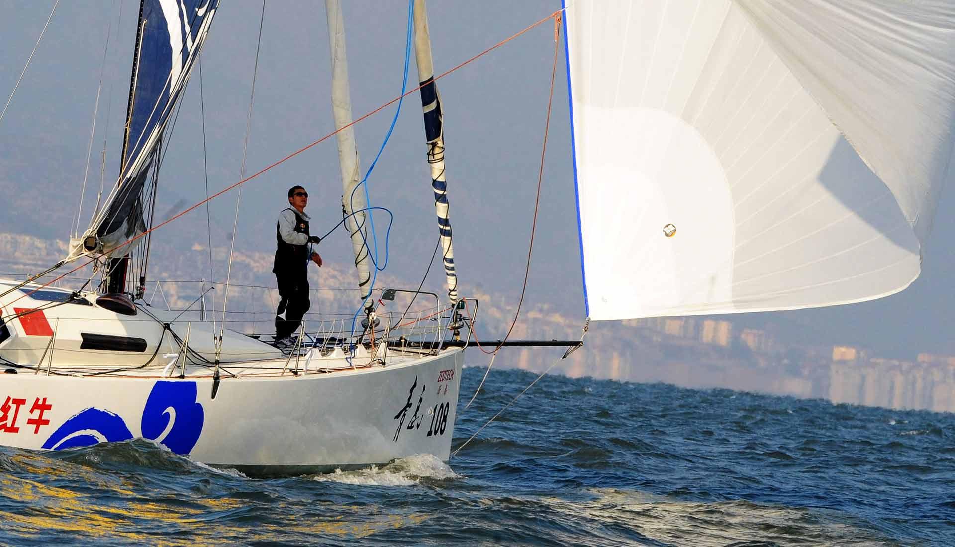 Gennaker Sailing his Class 40 QUINGDAO Racing Yacht