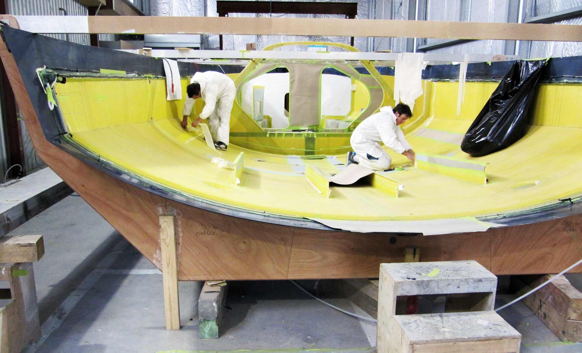 A Kiwi 40FC hull is made