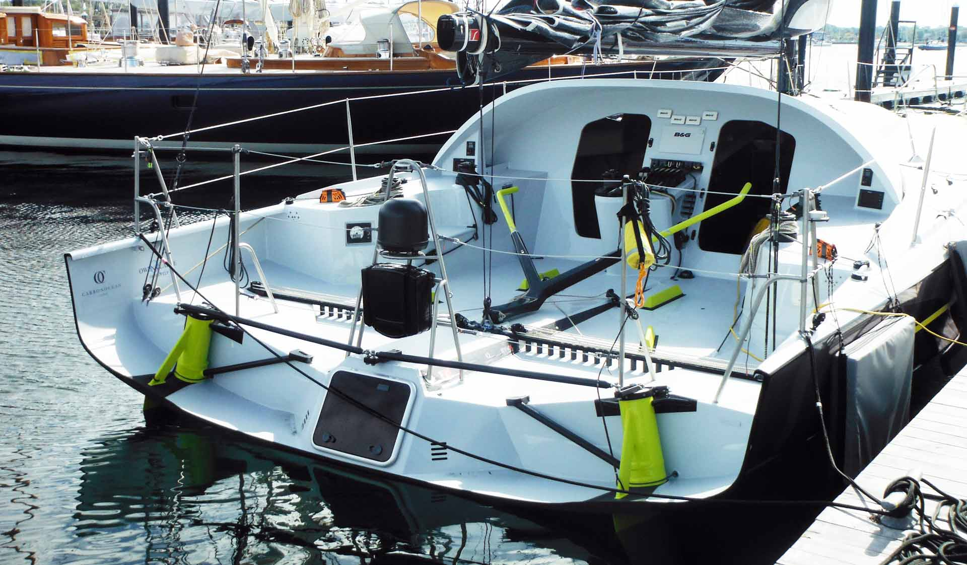 LONGBOWs stern - notice the thick rudder shafts