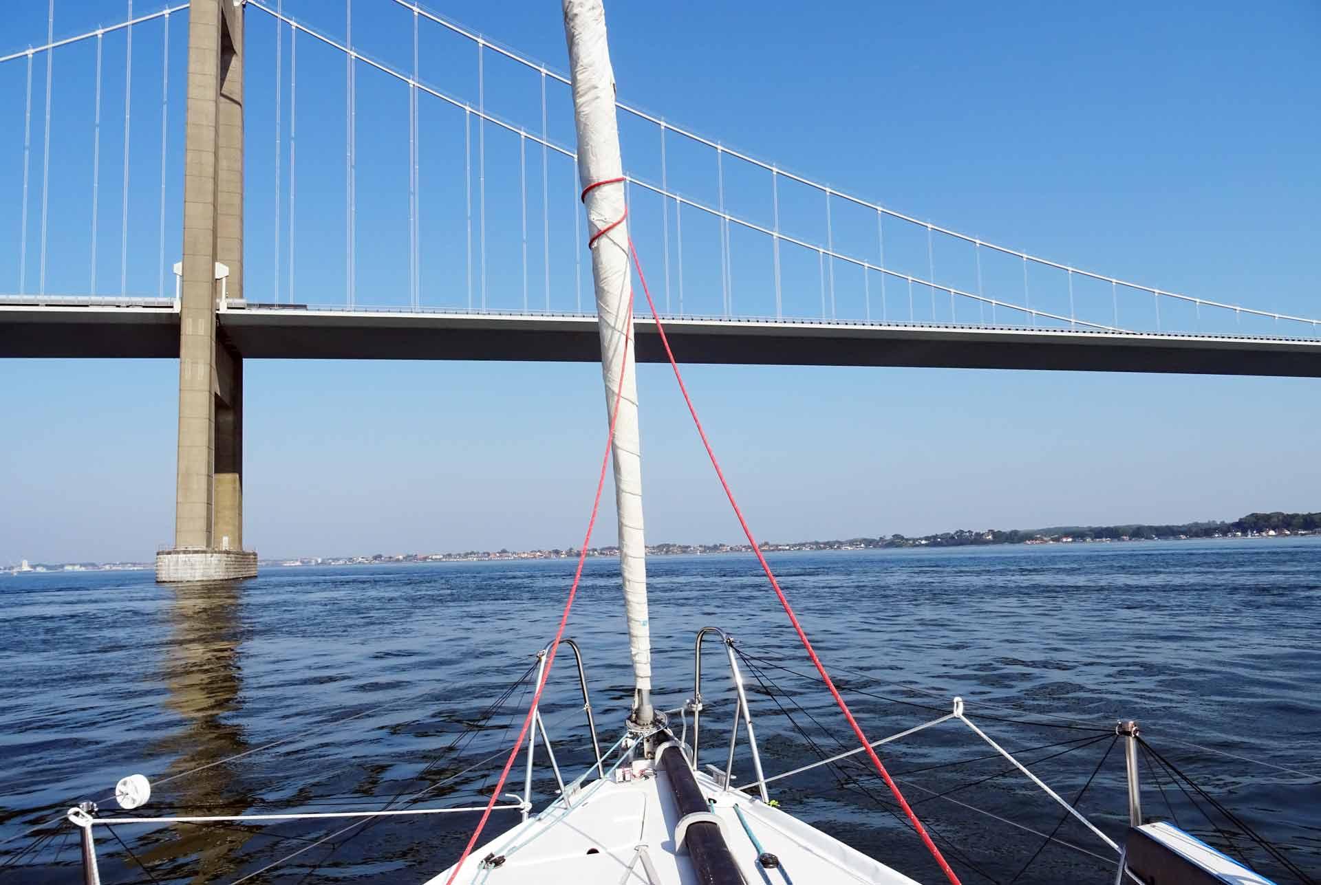 Crossing the Bridge in Middelfart: More wind in the open sea afterwards?