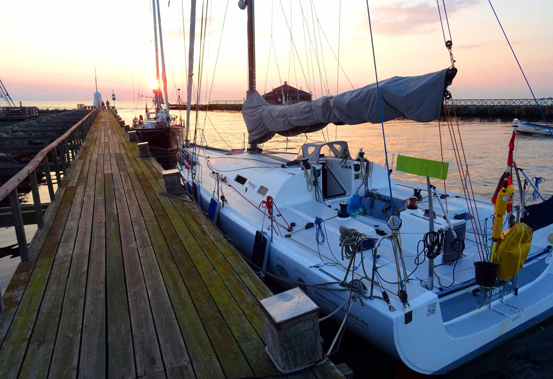 Mooring in Kerteminde harbor. Quite a nice berth.