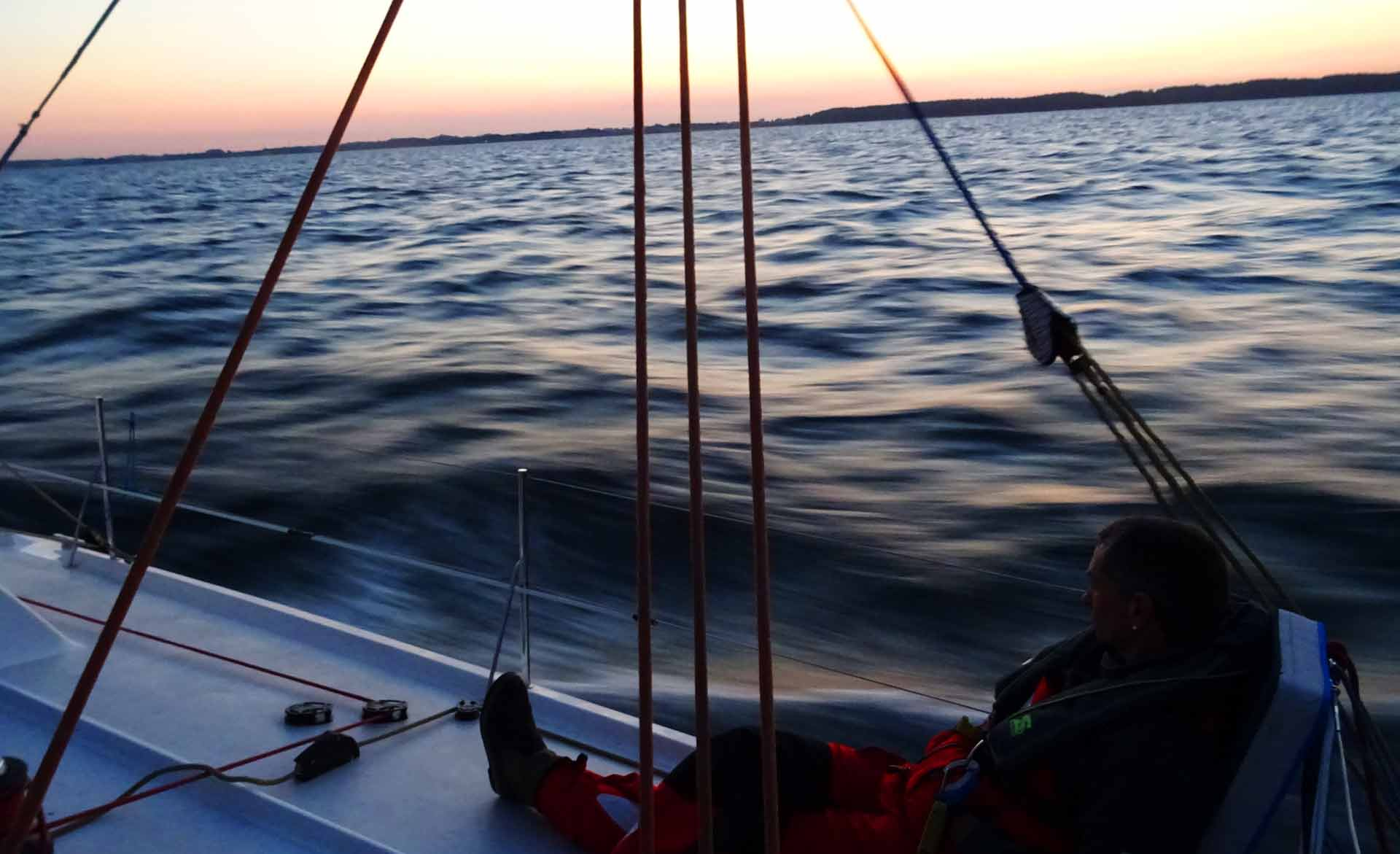 Racing down Langeland at steady 12 knots over ground