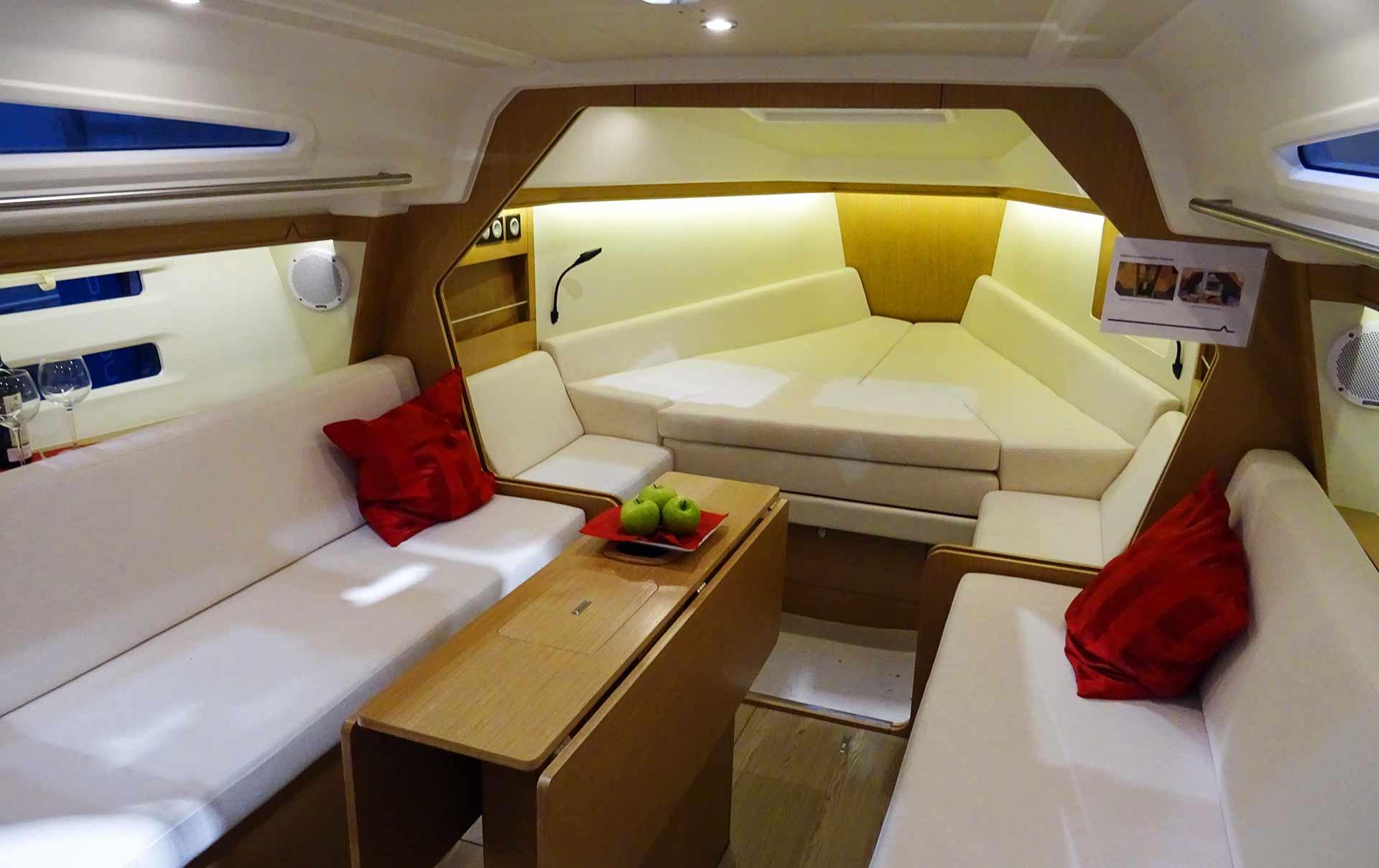 Spaceship-like interior design inside the Azuree 33