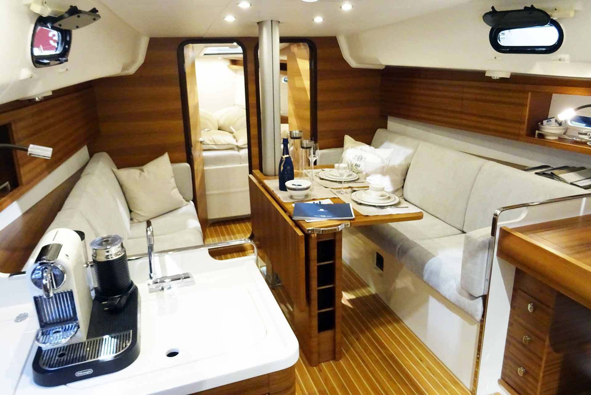 I liked the Italia Yachts 10.95 for her clean interior design