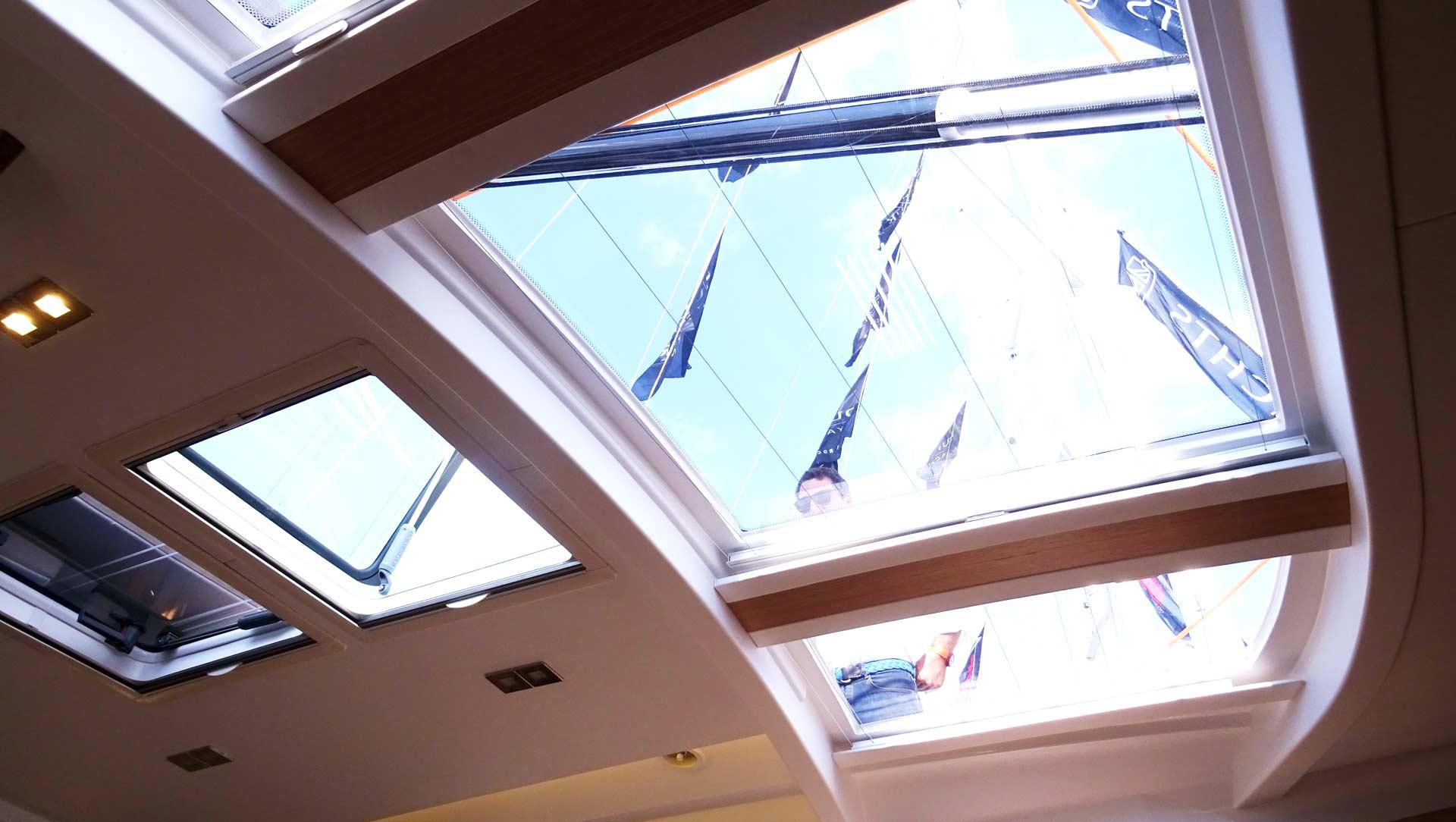 Huge skylights: Trademark of Dufour Yachts